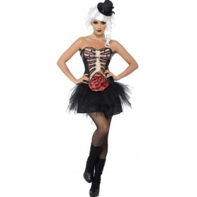 Ladies Black Grotesque Burlesque Corset (Fancy Dress Costume)