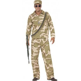 Men'S Camo Commando Fancy Dress Costume