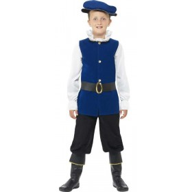 Boys Royal Blue Tudor Fancy Dress Costume