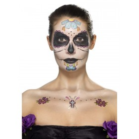 Day of the Dead Face Tattoo Transfers Kit, Aqua Fancy Dress Accessory