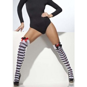 Ladies Black & White Card Suit Alice Style Opaque Hold-Ups