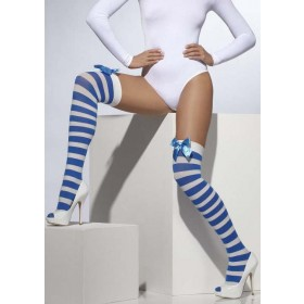 Ladies Blue & White Opaque Hold-Ups