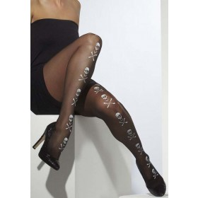 Ladies Black Opaque Tights With Skull & Crossbones