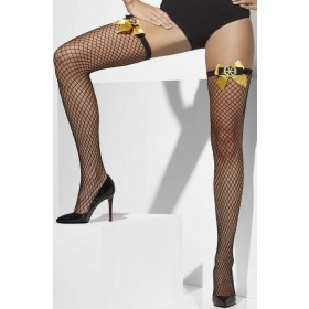 Ladies Black Lattice Net Hold-Ups
