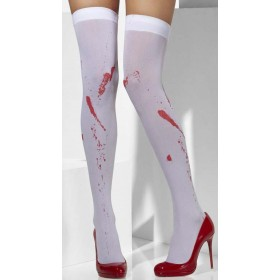 Ladies White Blood Stain Style Opaque Hold-Ups