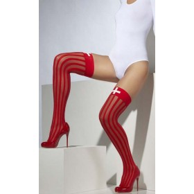 Ladies Red Sheer Hold-Ups Nurse Style