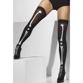 Ladies Black Opaque Skeleton Hold-Ups