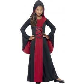 Girls Black/Red Hooded Vamp Robe  (Fancy Dress Costume)
