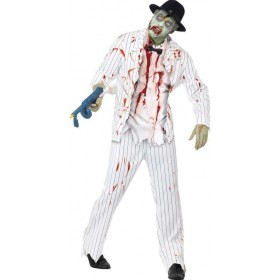 Mens White Zombie Gangster  (Fancy Dress Costume)