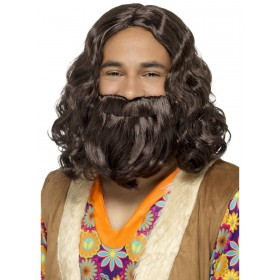 Hippie/Jesus Wig & Beard Set Fancy Dress Accessory