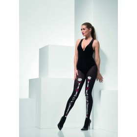 Opaque Day of the Dead Tights Fancy Dress Accessory