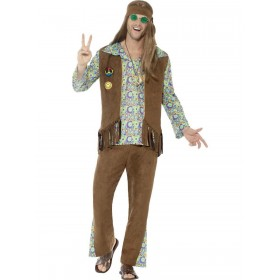 60s Hippie Costume, with Trousers, Top, Waistcoat Fancy Dress