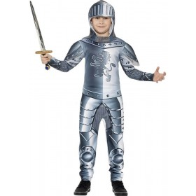 Boys Grey Deluxe Armoured Knight Fancy Dress Costume