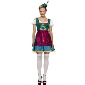 Ladies Fever Deluxe Dirndl/Oktoberfest Bavarian Fancy Dress Costume