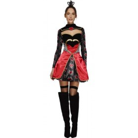 Ladies Fever Alice Queen Of Hearts Fancy Dress Costume