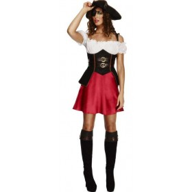 Ladies Fever Caribbean Pirate Wench Fancy Dress Costume