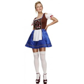 Ladies Fever Deluxe Dirndl/Oktoberfest Bavarian Maid Fancy Dress Costume