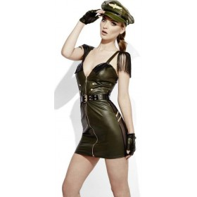 Ladies Fever Role-Play Sexy Military Chief Wet Look Fancy Dress Costume