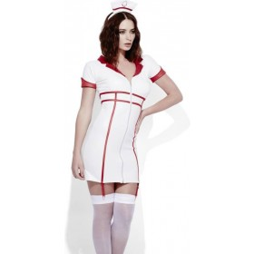 Ladies Sexy White Fever Role-Play Nurse Wet Look Fancy Dress Costume