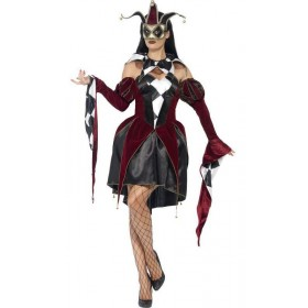 Ladies Gothic Harlequin Court Jester/Joker Fancy Dress Costume