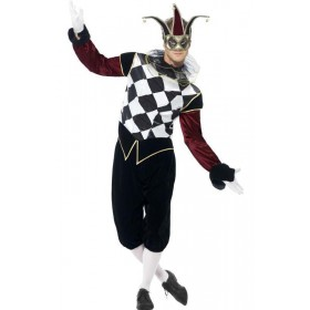 Men'S Gothic Venetian Harlequin Jester/Fool Fancy Dress Costume
