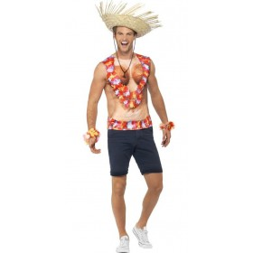 Mens Hawaiian Print Vest Fancy Dress Costume