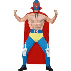 Mens Mexican Wrestler Fancy Dress Costume