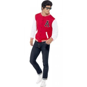 Men'S 50'S College Jock Letterman Jacket Fancy Dress Costume