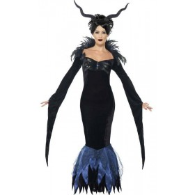 Ladies Dark Raven Halloween Fancy Dress Costume
