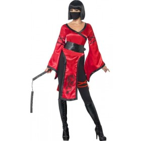 Ladies Red Shadow Ninja Warrior Fancy Dress Costume
