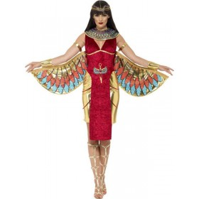 Ladies Red Egyptian Goddess Isis Fancy Dress Costume