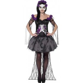 Ladies Black Day Of The Dead Spanish Senorita Halloween Fancy Dress Costume