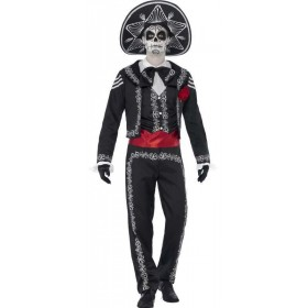 Mens Mexican Day Of The Dead Senor Halloween Fancy Dress Costume