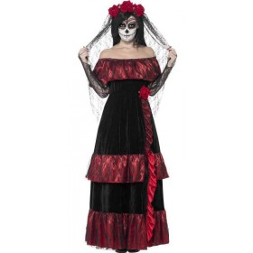 Ladies Gothic Dead Bride Halloween Fancy Dress Costume
