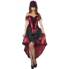 Ladies Red Sexy Venetian Temptress Fancy Dress Costume