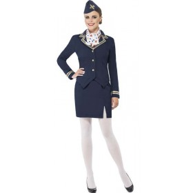 Ladies Blue Airways Cabin Crew Attendant Fancy Dress Costume