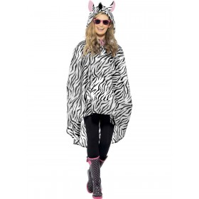 Zebra Party Poncho Fancy Dress Costume