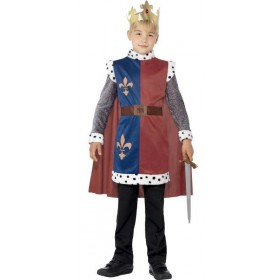 Boys King Arthur Medieval Tunic Fancy Dress Costume