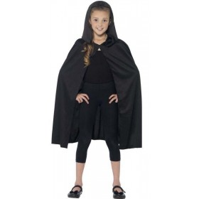 Childs Black Hooded Halloween Fancy Dress Cape