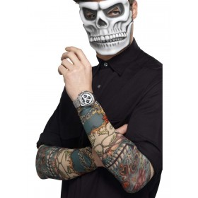 Day of the Dead Tattoo Sleeve Fancy Dress Accessory