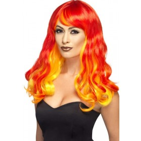 Ladies Red Ombre Devil Flame Wig Halloween Accessory