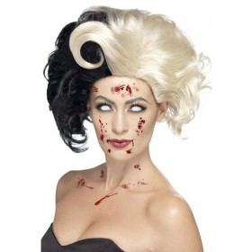 Ladies Black & White Evil Madame Wig Halloween Accessory