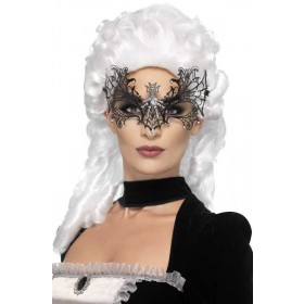 Ladies Black Widow Web Eyemask Halloween Accessory