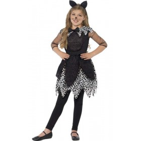 Girls Deluxe Black Midnight Cat Halloween Fancy Dress Costume