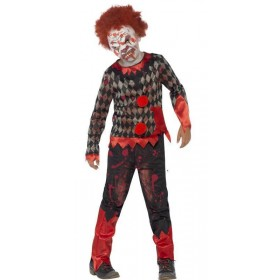 Boy'S Deluxe Zombie Circus Clown Halloween Fancy Dress Costume