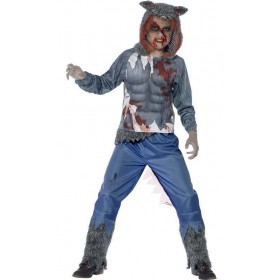 Boy'S Deluxe Grey Wolf Warrior Halloween Fancy Dress Costume
