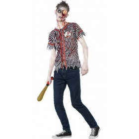 Teen College Zombie Baseball Player Halloween Fancy Dress Costume