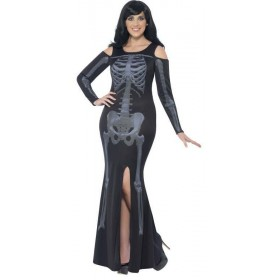 Ladies Curves Skeleton Halloween Fancy Dress Costume