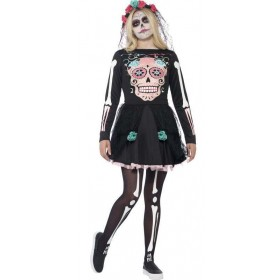 Teen Mexican Day Of The Dead Sugar Skull Sweetie Halloween Fancy Dress Costume
