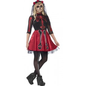 Teen  Mexican Day Of The Dead Diva Halloween Fancy Dress Costume